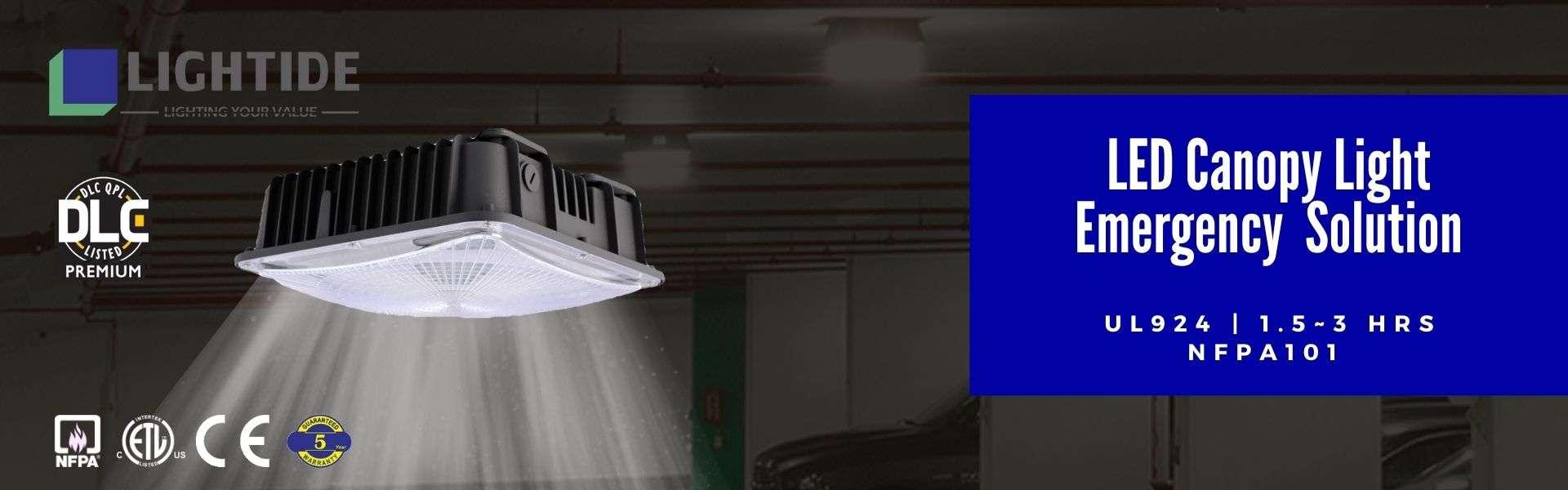 Lightide DLC premium & UL924 emergency LED garage canopy lights Battery Backup