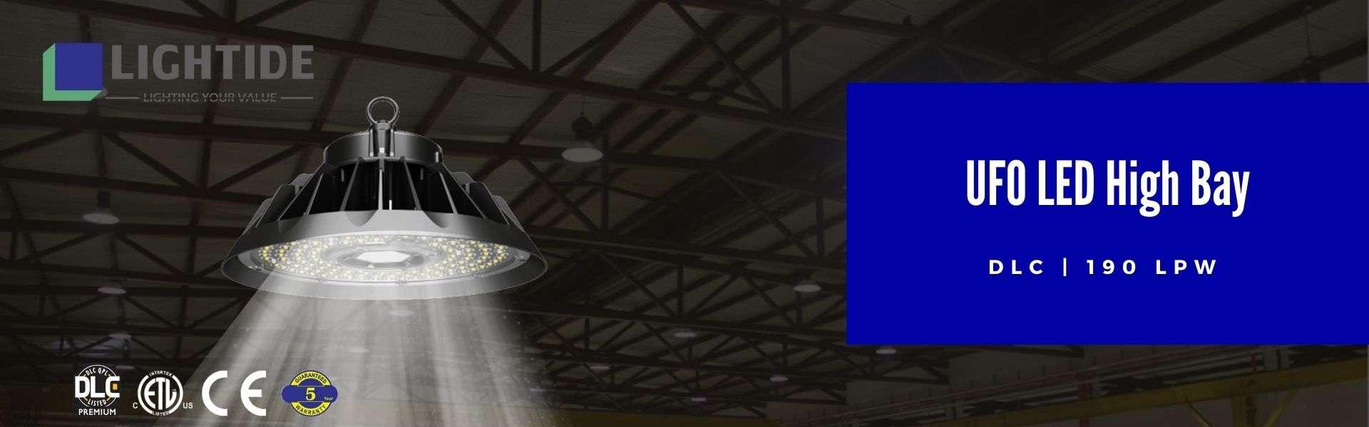 Lightide DLC QPL ufo led High Bay Lights 190 LPW