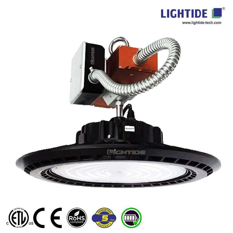 Lightide-UFO-Emergency-led-high-bay-light-fixture-battery-backup-UL924